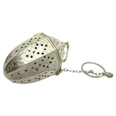 Art Deco Sterling Tea Ball Infuser Webster & Co. Embossed Acorn Shaped Lantern