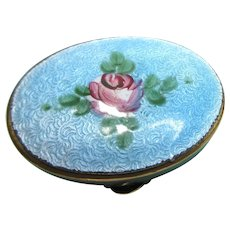 Guilloche Enamel Patch or Pill Box Brass Floral Rose Mid-Century