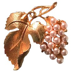 Gold Tone and Faux Pearl Grape Cluster Brooch