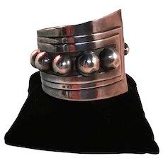 Gerardo Lopez, Taxco, Sterling Silver Hinged Bracelet