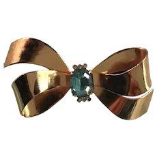 Coro Gold Tone and Rhinestone Bow Pin