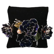 Coro Floral Brooch and Earring Set