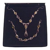 Sterling Silver and Lucite Tear Drop Necklace and Bracelet
