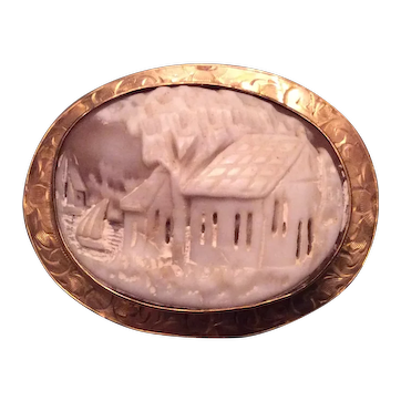Edwardian 10k Lake Scene Cameo Brooch