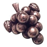 Mexican Sterling Silver Grape Cluster Brooch