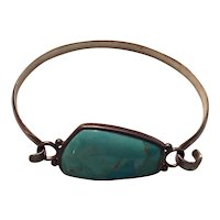 Thai Sterling Silver and Turquoise Cuff Bracelet
