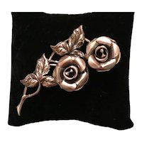 Beaucraft Sterling Silver Double Rose Brooch