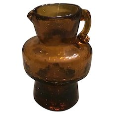 Blenko Amber Crackle Glass Pitcher
