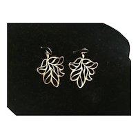 Sterling Silver Wire Leaf Earrings
