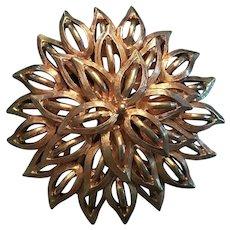 Vintage Roget Gold Tone Chrysanthemum Brooch
