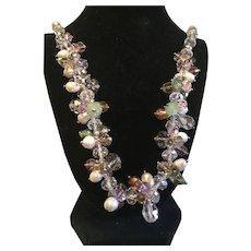 Vintage Facet Crystal Cluster Necklace.