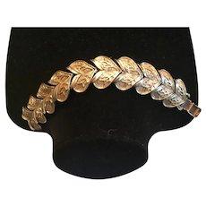 Vintage Coro Gold Tone Leaf Shaped Link Bracelet
