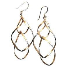 Sterling Silver Linear Twist Dangle Earrings