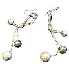Sterling Silver Dangle Bead Earrings