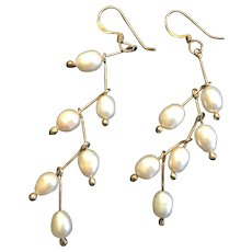 Sterling Vermeil and Pearls Dangle Earrings