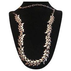 Vintage German Silver Tone Link Leaf Necklace
