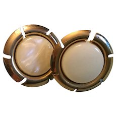 Sarah Coventry Gold Tone and Opaque Button Earrings