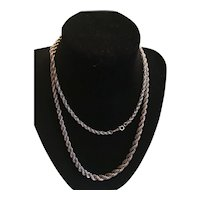 Large Sterling Silver Rope Braid Necklace