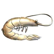 Sterling Silver Shrimp Pin