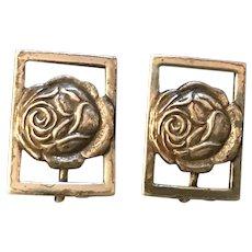 Pair of Vintage Coro Sterling Silver Sculpted Rose Earrings