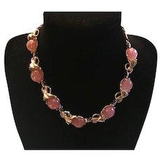 Vintage Pink Luster Sparkle Choker Necklace