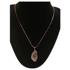 Vintage 18K Gold Plated Geode Pendant Necklace