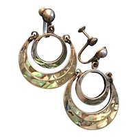 Vintage Taxco Sterling Silver and Abalone Hoop Earrings