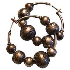 Sterling Silver Beaded Hoop Earrings