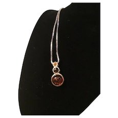 Italian Sterling Silver and Lucite Pendant Necklace