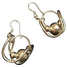 Modernist Sterling Silver Dangle Swirl Earrings