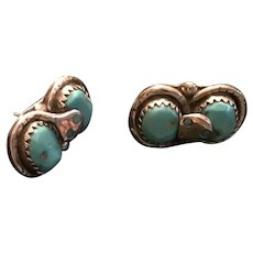 Effie Calavaza Sterling Silver and Turquoise Zuni Snake Earrings