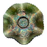 Fenton Water Lily Green Carnival Glass Footed Bowl