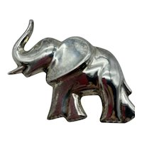 Large Vintage Taxco Sterling Silver Elephant Pin/Pendant
