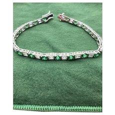 Vintage Uncas Sterling Silver and Spinel Link Tennis Bracelet