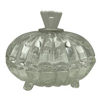 Heisey Glass Crystolite Pattern 3 Toed Candy Dish and Cover