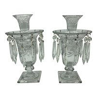 Pair of Heisey Glass Ipswich Pattern Candle Vases