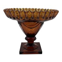 Heisey Glass Ipswich Pattern Amber Footed Nut Bowl/Compote