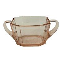 Heisey Glass Octagon Pattern Flamingo Open Sugar Bowl