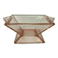 Heisey Glass Quator Pattern Flamingo Open Sugar Bowl