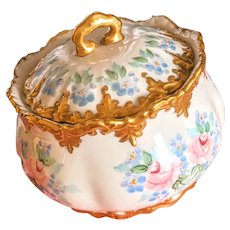 Hand Painted trinket box large vanity or biscuit jar signed and dated