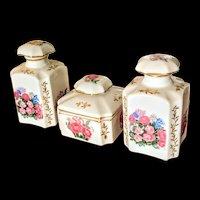 Vanity set made in Japan 3 piece perfume bottles and powder box