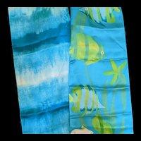 Liz Claiborne silk scarf reversible neck tie hairband belt blue tones