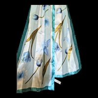 Elaine Gold for Collection XIIX long scarf teal and blues with silvery threads