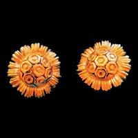 Monet golden sunflower earrings