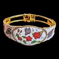 Vintage cloisonne enamel clamp style bracelet