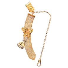 3 DAY SALE! F M Co watch fob and chain gold filled heart icon NO MONOGRAM stamp