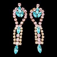 SALE! Vintage Czech glass earrings 4 inch drop danglers BIJOUX M G