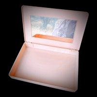 Vintage hinged vanity box pink with mirror