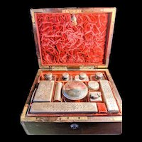 LAST SALE! 19th Century Antique Travel Fitted Dressing Case Box with 14 piece accessories
