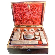 SALE! 19th Century Antique Travel Fitted Dressing Case Box with 14 piece accessories